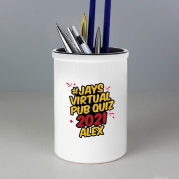 Personalised Jay's Virtual Pub Quiz Pen Pot