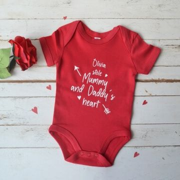 Personalised Stole My Heart Baby Grow