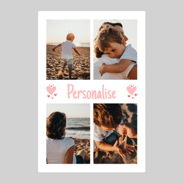 Personalised Four Photo Blanket With Text - Middle