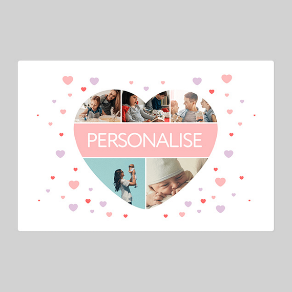 Personalised Love Heart Five Photo Blanket With Text