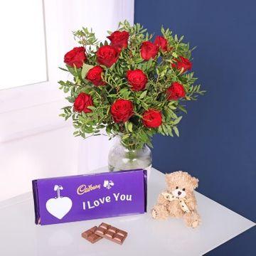 Cadbury Red Roses Bouquet & Teddy Bear