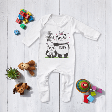Personalised Matching Mummy And Me First Mothers Day Panda Babygrow And T Shirt