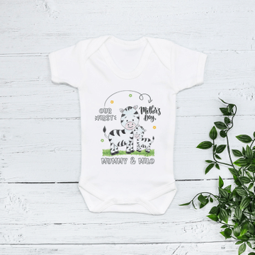 Personalised Matching Mummy And Me First Mothers Day Zebra Babygrow And T Shirt