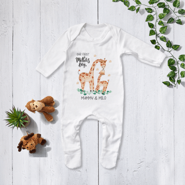 Personalised Matching Mummy And Me First Mothers Day Giraffe Babygrow And T Shirt
