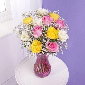Personalised Roses & Gypsophila with Glass Vase