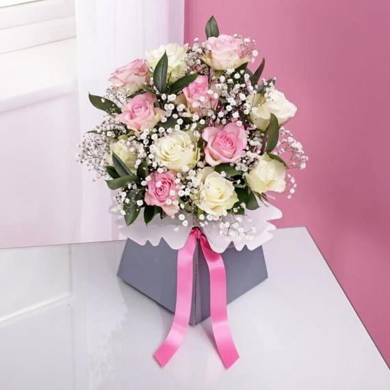 Pink & White Rose Arrangement in Calypso Vase