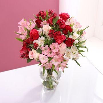 Rose & Alstroemeria Pink Themed Bouquet