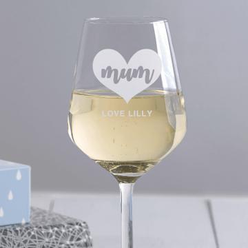 Personalised Heart Mum Wine Glass