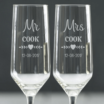 Personalised Couples Champagne Flutes