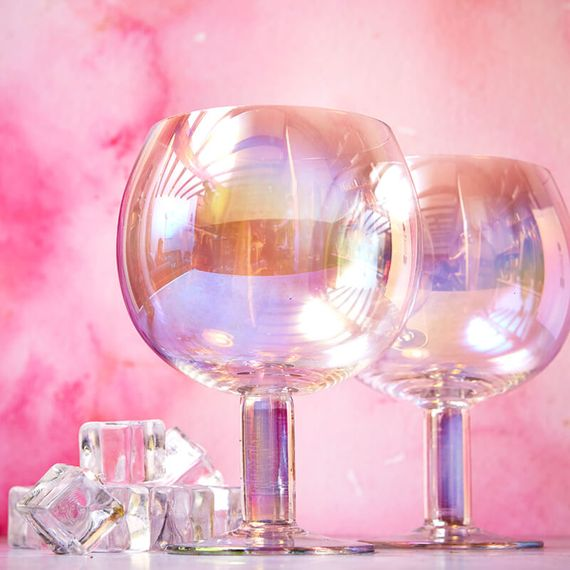 Two rainbow tinted gin glasses.