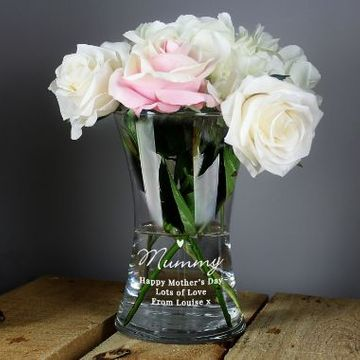 Personalised Waisted Glass Flower Vase