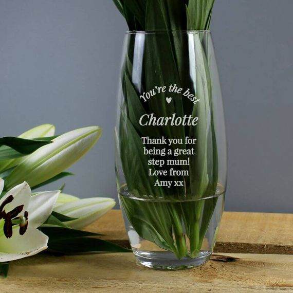 Personalised Heart Glass Flower Vase