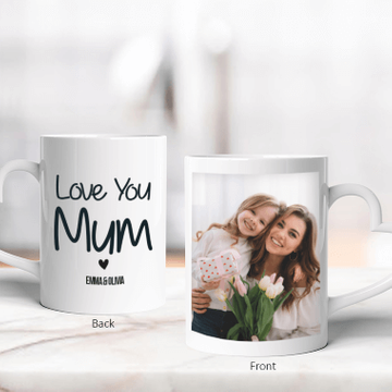 Personalised Love Mum Heart Photo Mug