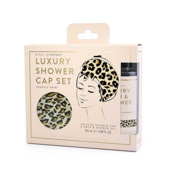 Luxury Shower Cap Gift Set - Leopard