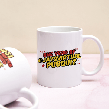 Jay's Virtual Pub Quiz One Year Anniversary Mug