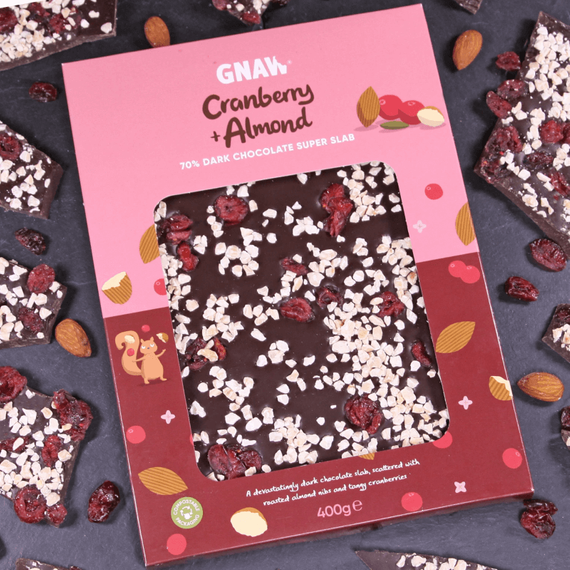 Gnaw Cranberry & Almond Chocolate Slab