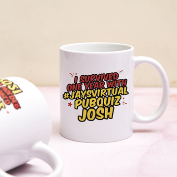 Personalised 'I Survived' Jay's Virtual Pub Quiz Anniversary Mug