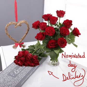 Personalised Letterbox Red Roses & Willow Heart