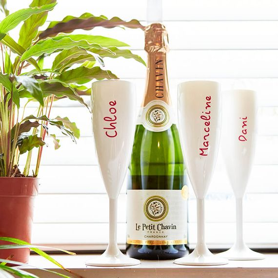 Personalised Island White Champagne Flutes