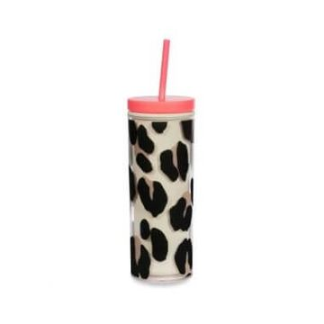 Kate Spade Forest Feline Acrylic Tumbler With Straw