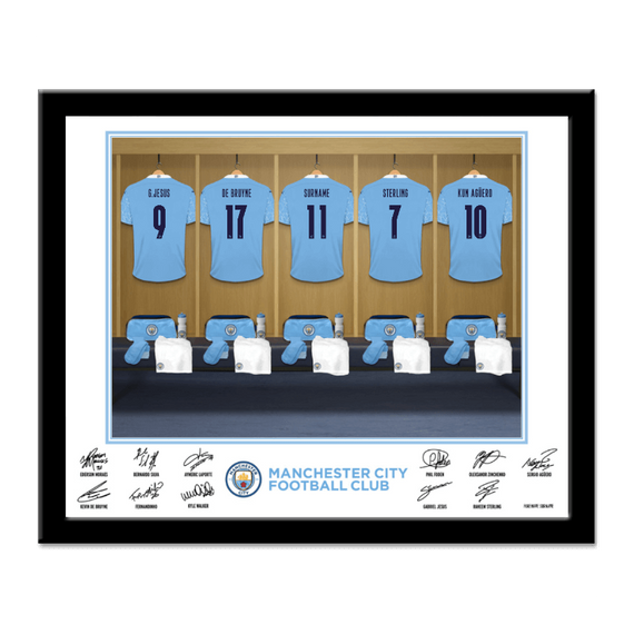 Personalised Manchester City FC Dressing Room Framed Print