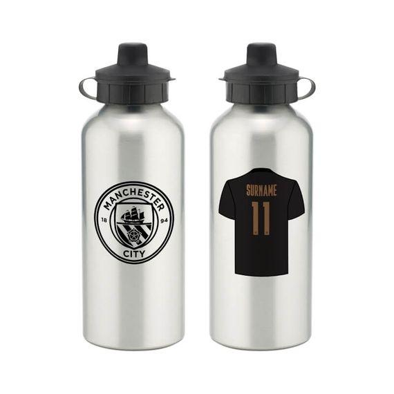 Personalised Manchester City FC Away Aluminium Water Bottle