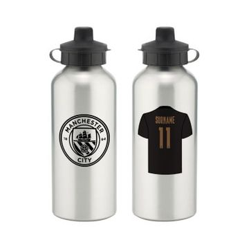 Personalised Manchester City FC Away Aluminium Water Bottle