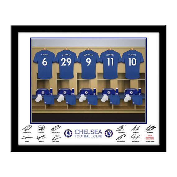 Personalised Chelsea FC Dressing Room Framed Print