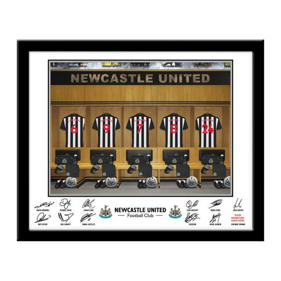 Personalised Newcastle United FC Dressing Room Framed Print
