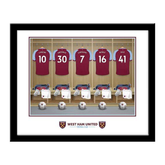 Personalised West Ham United FC Dressing Room Framed Print