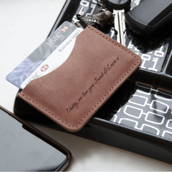 Personalised Tan Leather Card Holder