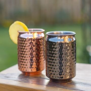 Hammered Metal Can Cups