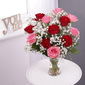 Dozen Red & Pink Roses with Glass Vase
