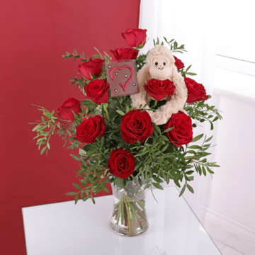 Cheeky Monkey Rose Bouquet with Chocolate Heart