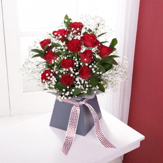 Personalised Red Rose & Gypsophila Arrangement