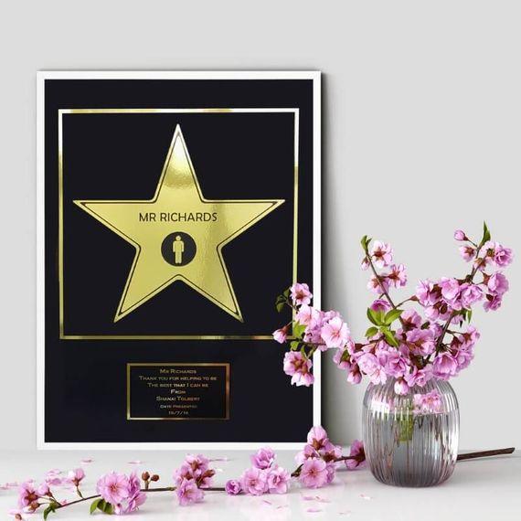 Personalised Metallic Hollywood Star Print Framed
