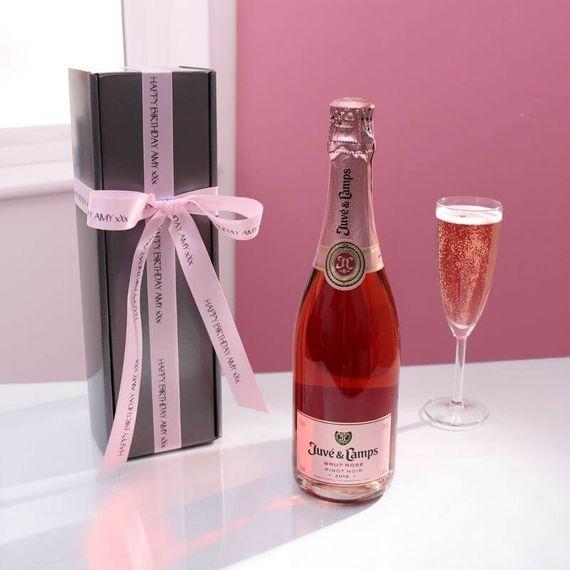 Personalised Cava Rose Gift Box