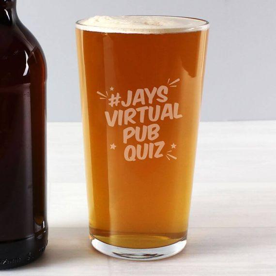 Personalised Jay's Virtual Pub Quiz Pint Glass