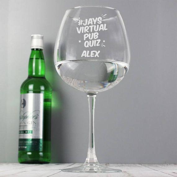 Personalised Jay's Virtual Pub Quiz Gin Glass