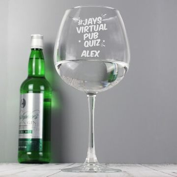Personalised Jay's Virtual Pub Quiz Gin Glass