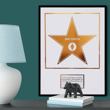 Metallic Personalised Hollywood Star Print