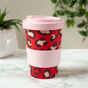 Bamboo Leopard Print Screw Top Bamboo Travel Mug