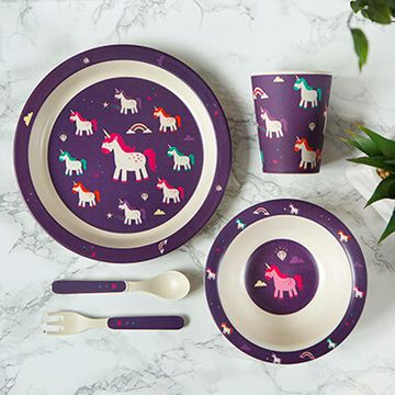 Bamboo Unicorn Reusable Kids Dinner Set