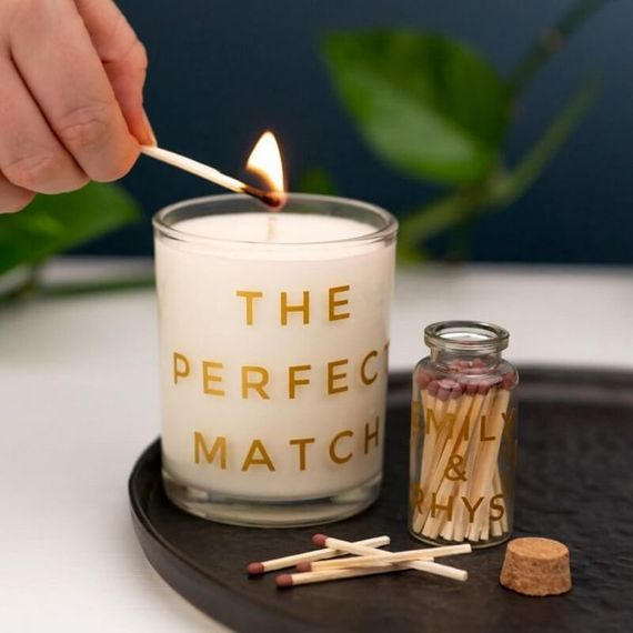 Personalised Perfect Match Candle Set