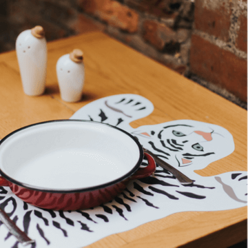 White Tiger Placemats - Set Of Six