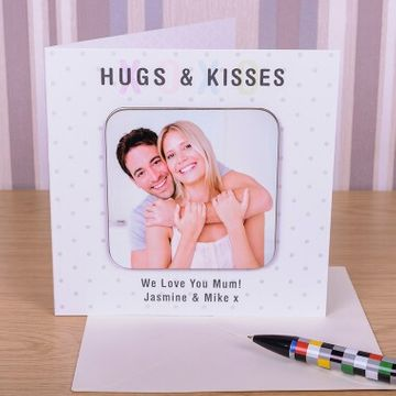 Personalised Hugs Photo Coaster Card