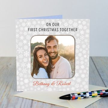 Personalised Christmas Together Photo Coaster Card