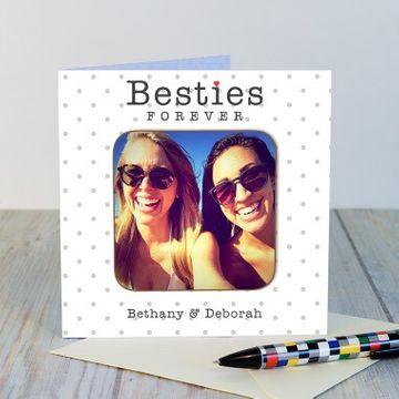 Personalised Besties Photo Coaster Card