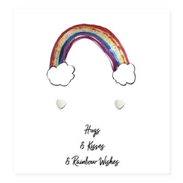 Heart Earrings On Rainbow Card