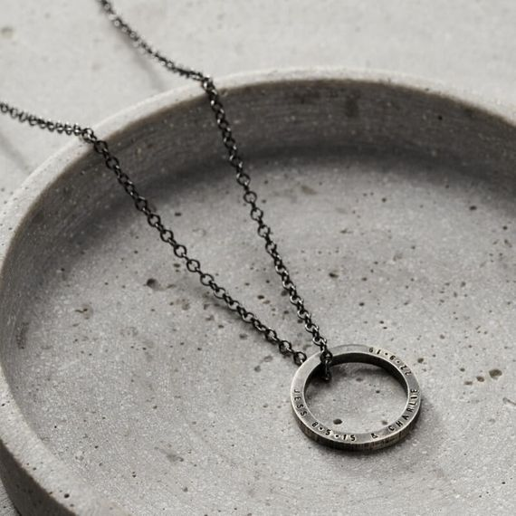 Personalised Men's Circle Necklace